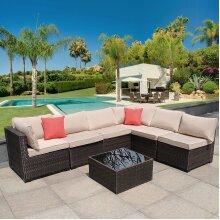 New 6 Seat Garden Rattan Furniture Set