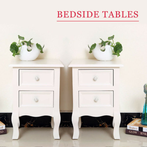 Pair White Bedside Tables Nightstand Cabinet with 2 Drawers