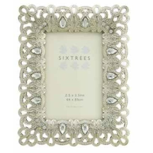 """Antique Vintage and Shabby Chic Style silver metal photo frame with beads and crystals for a 3.5"""" x 2.5"""" (64 x 89mm) picture -Diana by Sixtrees"""