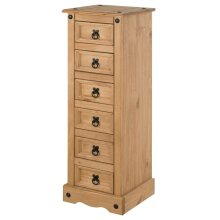 Corona 6 Drawer Narrow Chest Bedside Table Cabinet bedroom Furniture