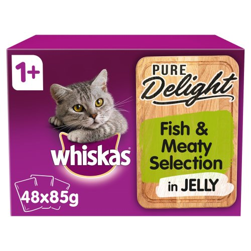 48 x 85g Whiskas Pure Delight 1+ Adult Wet Cat Food Pouches Fish & Meat in Jelly