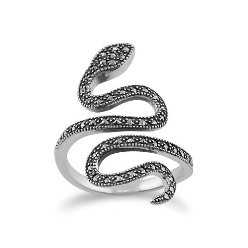 (Q) Art Nouveau Style Round Marcasite Snake Boho Ring in 925 Sterling Silver