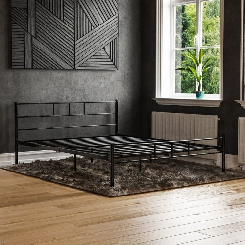 (King Size, Black) Vida Designs Dorset Metal Bed Frame | Modern Bedstead