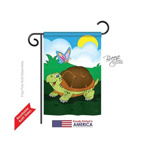 Breeze Decor 60040 Wildlife & Lodge Turtle 2-Sided Impression Garden Flag - 13 x 18.5 in.