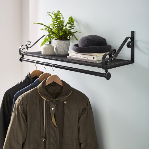 Heavy Duty Wall Mounted Clothes Rail & Shelf