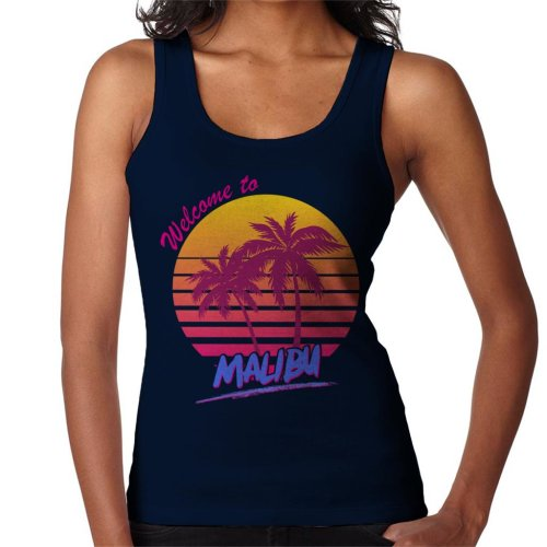 (Small, Navy Blue) Welcome To Malibu Retro 80s Women's Vest