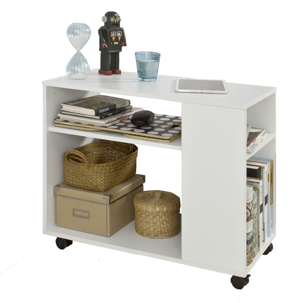 So Fbt34 W Side Table End Coffee With Storage Shelves On Wheels - Side Table With Storage Shelves