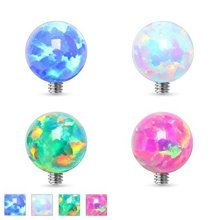 Opal Surgical Steel Ball Topped Dermal Anchor Top Replacement Body Jewellery Parts Accessories