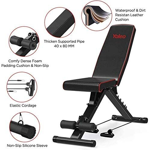 YOLEO Weight Bench-550 lbs Capacity, Folding Flat/Incline/Decline FID Bench, Perfect for Full Body Workouts and Home Gym 2021 version