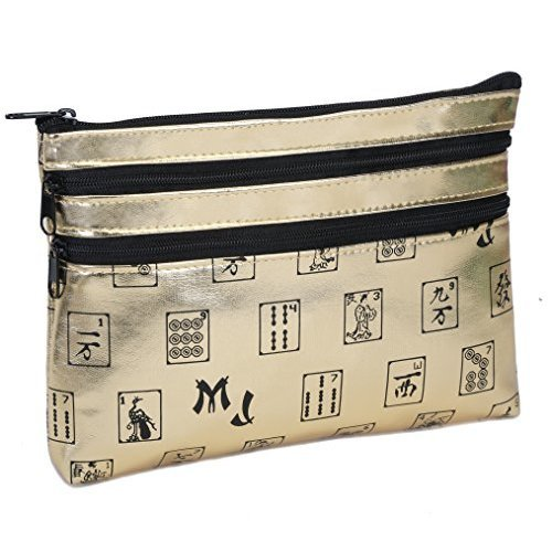 Mah Jongg Gold 3 Zipper Mah Jong Purse for Mahjong Card