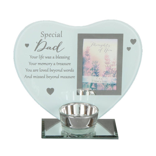 """""""Thoughts of You"""" Glass Photo Frame Memorial Tea Light Candle Holder - Dad"""
