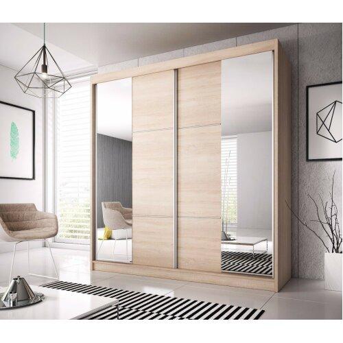 Checo Modern Sliding Door Wardrobe   233cm with Sonoma Oak Sides