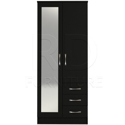 Ready assembled Classic 2 Door 3 Drawer Combi Mirrored Wardrobe Black