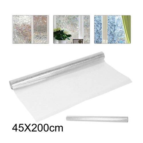 45x200CM 3D Privacy Window Film Non-Adhesive Frosted Pattern Glass