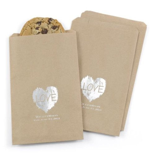 Brush of Love Treat Bags, Kraft - Personalized