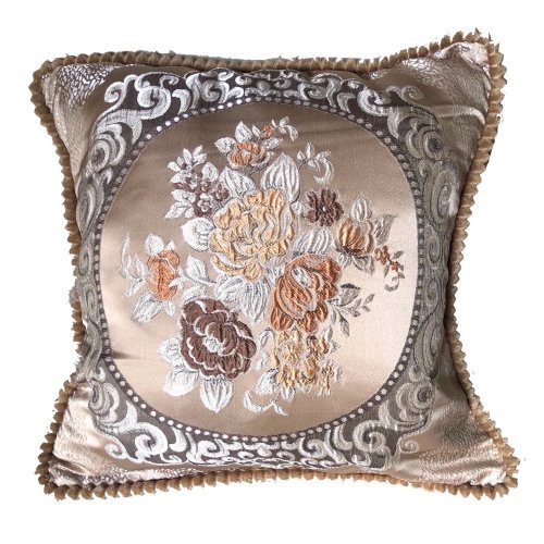 (Brown) Floral Vintage Embroidered Woven Cushion Cover