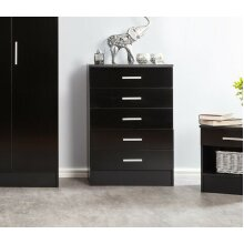 Galaxy Plus Black Gloss Two Tone Chest of 5 Drawers