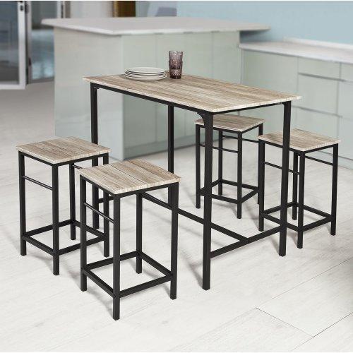 Sobuy Ogt11 N 1 Bar Table And 4 Stools Kitchen Breakfast Bar Set Dining Set On Onbuy
