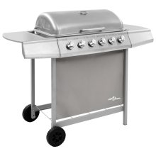 vidaXL Gas BBQ Grill with 6 Burners Silver Natural Gas Barbecue Side Burner