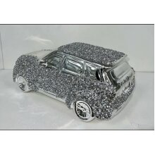 CRUSHED DIAMOND SILVER CRYSTAL RANGE ROVER CAR ORNAMENT SPARKLY