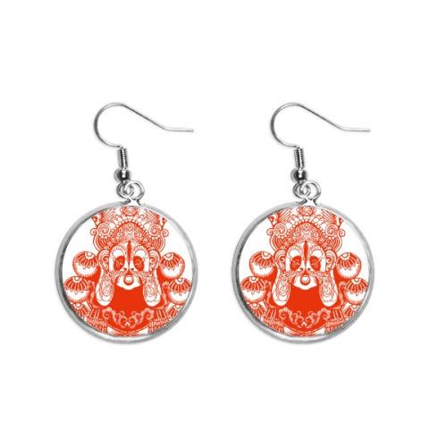 Beijing Opera Mask Red,Paper-cut, Ear Dangle Silver Drop Earring Jewelry Woman