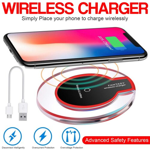 Qi Wireless Charging Pad For Samsung S10 S9 iPhone XR 11 Pro XS Max 8