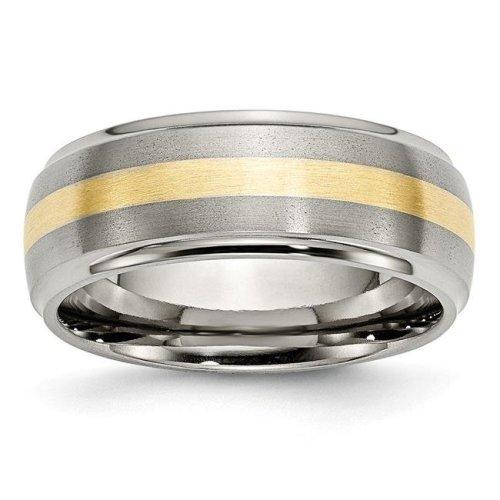 Chisel TB102-13.5 Titanium Ridged Edge 14K Gold Yellow Inlay 8 mm Brushed & Polished Band - Size 13.5