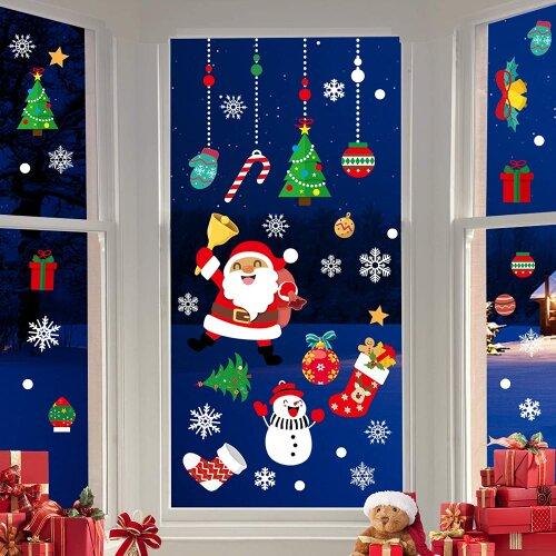 Christmas Window Decoration Stickers Santa Tree Snowflake Pvc Room Window Display