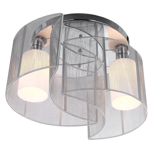 HOMCOM Modern Chrome Flush Mount Ceiling Chandelier Light| Homely Elegant lampshade