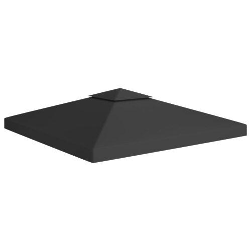 vidaXL 2-Tier Gazebo Top Cover 310 g/m² 3x3 m Black Garden Replacement Canopy