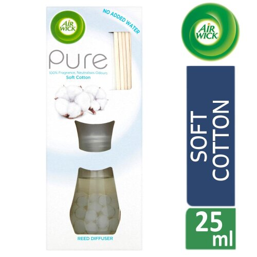 Air Wick Reed Diffuser Air Freshener Pure Soft Cotton 25ml Up to 28 Days