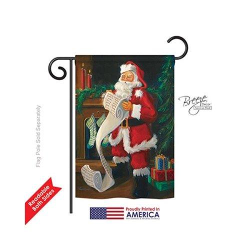 Breeze Decor 64088 Christmas Santas List 2-Sided Impression Garden Flag - 13 x 18.5 in.