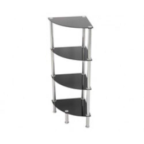 King Black Glass 4 Tier Modern Organisation Rack, Corner Shelving Shelf Unit
