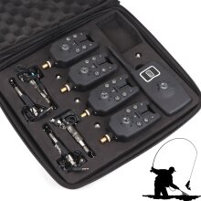 4 Wireless Bite Alarms Receiver LED Fishing Set With Display