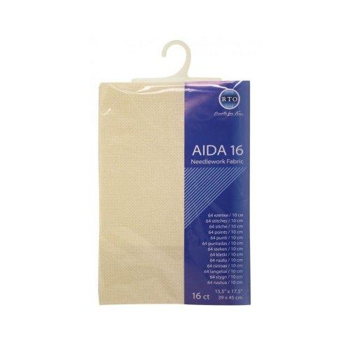 RTO prepacked Aida Cross stitch fabric ECRU 16 count, 15.5'' x 17.5''. 39cm x 45cm.