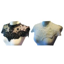 Black or off white bridal floral lace collar applique sew on tulle motif patch