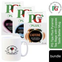 PG Tips Plus Black Tea Bags with Mug,4x20(80 Bags)