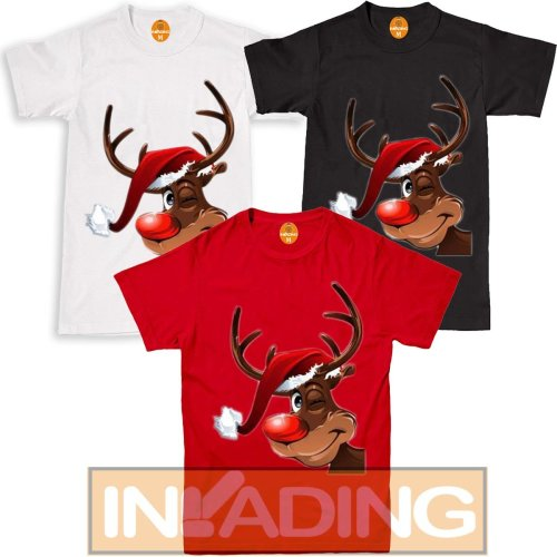 Smily Reindeer Red Nose Ear Christmas T Shirt