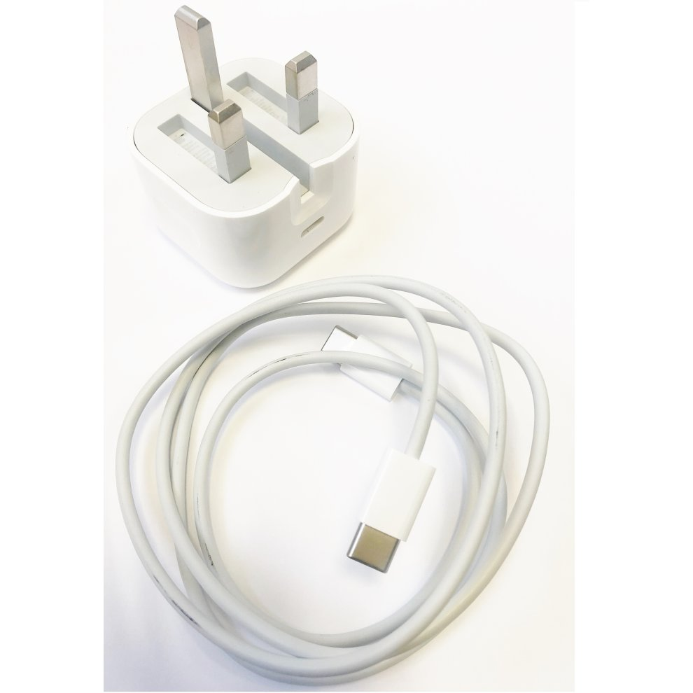Official Apple A1696 MU7W2BA 18W UK 3 Pin USB Type C Charger Head Plug Power Adapter for iPad Pro (USB C) with USB C Charge Cable (1m) MUF72ZMA