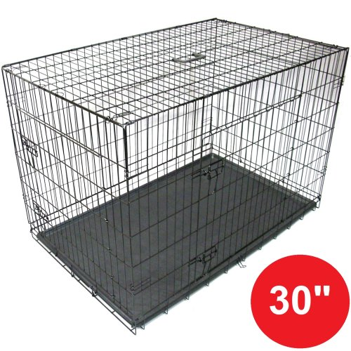 "Gr8 Home Black 30"" Pet Cages Metal Dog Cat Puppy Carrier Crate Tray"