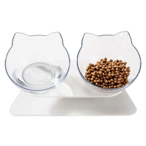 (Double Bowl) Non-Slip Cat Bowl With Raised Stand | Pet Food & Water Bowl