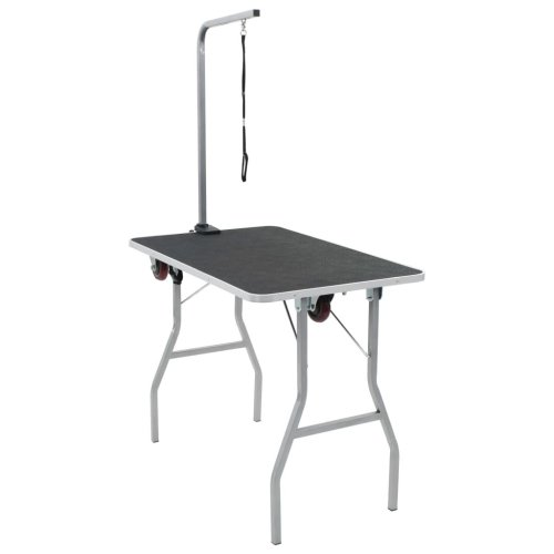 Portable Dog Grooming Table with Castors Foldable Adjustable Noose Arm