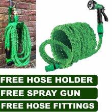 100FT Garden Expandable Hose Pipe Spray Gun Flexible Expanding Holder