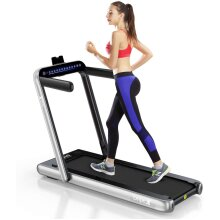 Dripex 2 in 1 Folding Treadmill, 2.25HP Under-Desk Running Machine w/ Bluetooth Speaker, Remote Control, LED Display, Easy Assembly, for Home Office