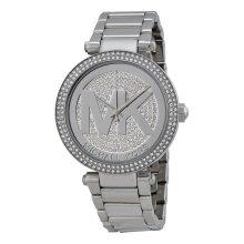 Michael Kors Ladies Parker Watch Stainless Steel Bracelet Silver Crystal Paved Dial MK5925