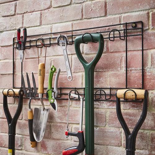 Two Tier Tool Rack 11 Hook Wall Mounted Hanger