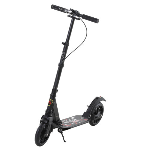 HOMCOM Adult Teens Kick Scooter Fold Adjust 14+ w/ Rear Wheel&Hand Brake Black