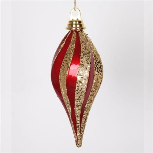 Vickerman M132586 8 in. Red-Gold Candy Glitter Swirl Drop Christmas Ornament - Pack of 48