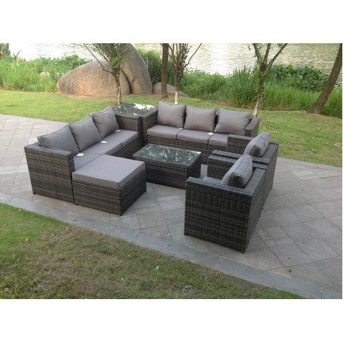 Lounge corner rattan sofa set chair table footstool patio furniture