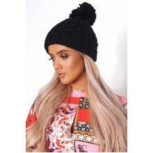 Black Wool Pom Pom Hat